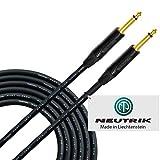 Cable para instrumentos de guitarra de 10 metros, fabricado a medida por WORLDS BEST CABLES, con cable Mogami 2524 y conectores Neutrik NP2X-B de 6,35 mm, rectos de oro TS