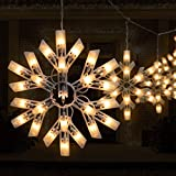 Snow Christmas String Lights 8.8 Feet with 6 Drops 100 Mini Bulb Connectable Icicle Fairy Curtain Lights Plug in for Xmas Home Indoor Outdoor Party Wedding