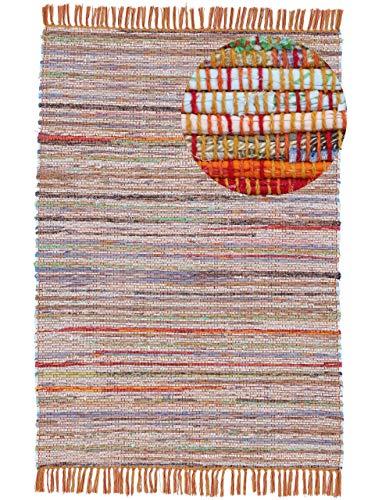carpetfine Tapis tissé à Plat Kilim Chindi Orange 200x290 cm | Tapis Moderne pour Le Salon et la Chambre à Coucher