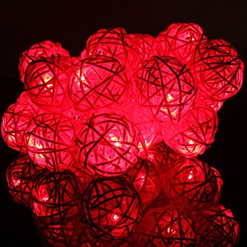 String lights 2m 20 LED Bulbs String Lights Ball Globe Fairy Lamp Festival Xmas Indoor (Color : Red)
