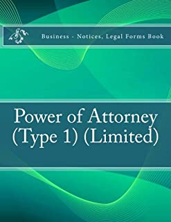 Power of Attorney (Type 1) (Limited): Business - Notices, Legal Forms Book