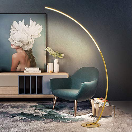 DSELP Wohnzimmer Stehlampe, Bogenlampe Moderne LED Classic Arc Standleuchte für Wohnzimmer Schlafzimmer Dreifarbiges LED Dimmbar Licht Fußschalter 25W,Gold