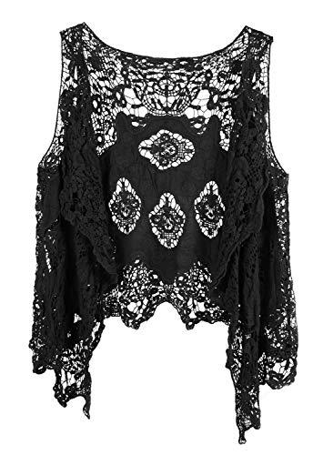 Vocni - Chaqueta de punto abierto sin mangas para mujer, estilo bohemio, hippie, con diseño de mariposa, chaleco de ganchillo