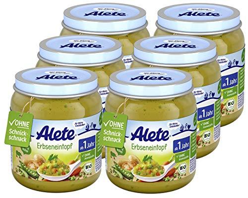 Alete Bio Gläschen Erbseneintopf, Babynahrung in Bio-Qualität, ohne Zusatz von Aromastoffen & Zucker, Menü ab 1 Jahr, 6er Pack (6 x 250 g)