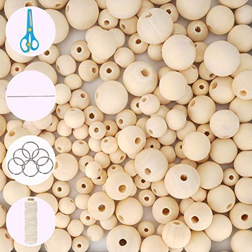 Ulikey 700 Pezzi Naturale Perline in Legno, Gioielli Fatti a Mano, Set Rotondo di Perline di Legno, 4 Misure (10 mm, 12 mm, 16 mm, 20 mm), per Bambini Kit di Creazione di Gioielli Fai da Te (A)
