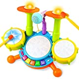 Fajiabao Drum Set for Toddlers Electric Musical Instruments Toy with 2 Drum Sticks Adjustable Microphone Music and Light Indoor Family Easter Games Early Learning Birthday Gift for Boys Girls Children