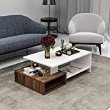 Homidea DUX Couchtisch - Weiß/Nussbaum - Moderner Wohnzimmertisch in trendigem Design mit extra Ablagefläche Holzwerkstoff