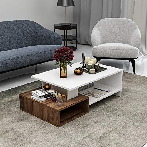 Dux Table Basse de Salon - Table de canapé - Table café Moderne dans Un Design à la Mode (Blanc/Noyer)