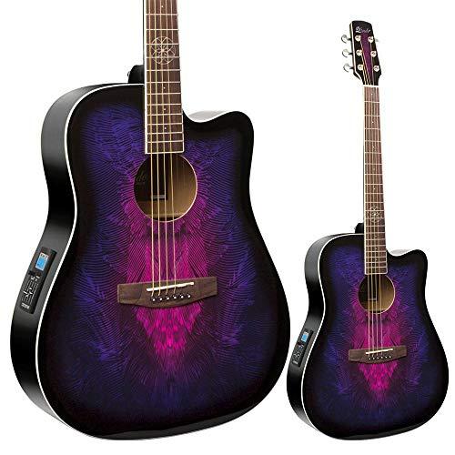 Lindo Swallow Elektroakustische Gitarre (mit F-4T Vorverstärker, Digitaltuner mit XLR und Klinken-Output, Transporttasche) Violett