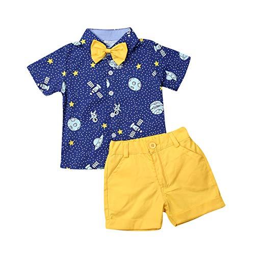Geagodelia Conjunto Niños Bebés Verano Gentleman Camiseta de Manga Corta Pantalón Corto Ropa Bautizo de 2 Piezas (Planeta-Amarillo, 12-18 Meses)
