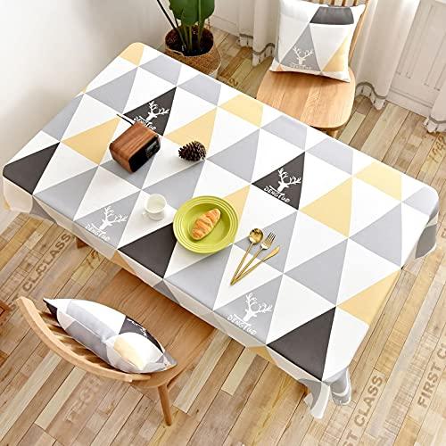 Aooaz Mantel Antimanchas ULE, Tela Impermeable Poliéster 135X160cm Amarillo Triángulo con Ciervos