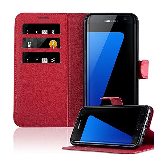 Cadorabo Funda Libro para Samsung Galaxy S7 Edge en Rojo CARMÍN - Cubierta Proteccíon con Cierre Magnético, Tarjetero y Función de Suporte - Etui Case Cover Carcasa
