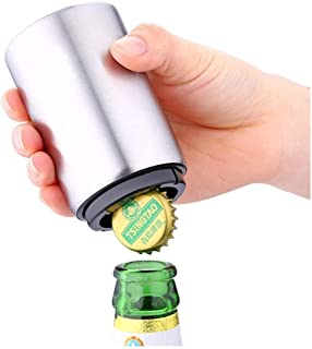 Auto Bottle Opener, Magnetic Automatic Beer Cap Remover Stainless Steel Push Down Beer Opener with Magnet Cap Catcher