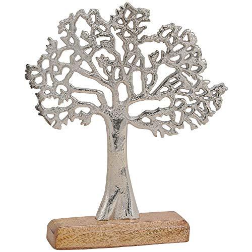 matches21 Skulptur Deko Baum aus Metall & Holz Holzfigur Metallfigur Skulptur Dekoration Silber/braun 1 STK 22x5x27 cm