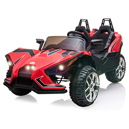 BAHOM Kids Ride On Car 2 Seats with Remote Control, 12V Kids Electric Vehicle with Manual/Parental Modes, Light/MP3/Volume Control (red)