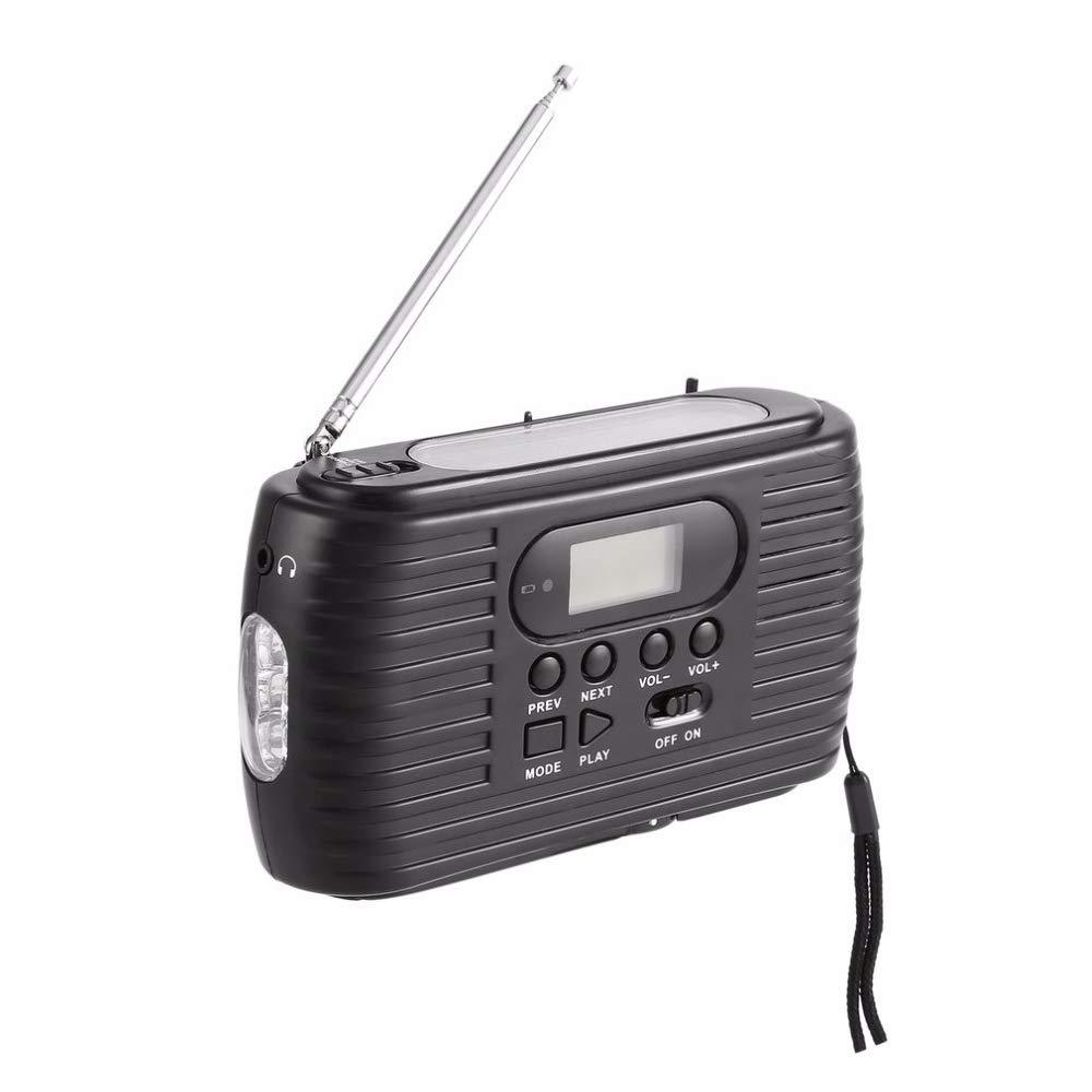 Nrpfell Radio de Emergencia con Energía Solar con Manipulación Manual Am/FM Radio y Reproductor de Música Linterna con 3 Leds: Amazon.es: Electrónica