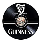 Wood Workshop Guinness Beer Brand Vinyl Record Wall Clock - Get Unique Bedroom or Living Room Wall Decor - Gift Ideas for him and her