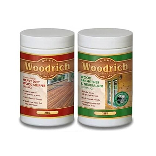 Heavy Duty Wood Stripper and Wood Cleaner Kit for Wood Decks, Wood Fences, Wood Siding, and Log Cabins - HD80 & Citralic Restoration Kit - Woodrich Brand - Covers up to 750 Square Feet - Easy to Use
