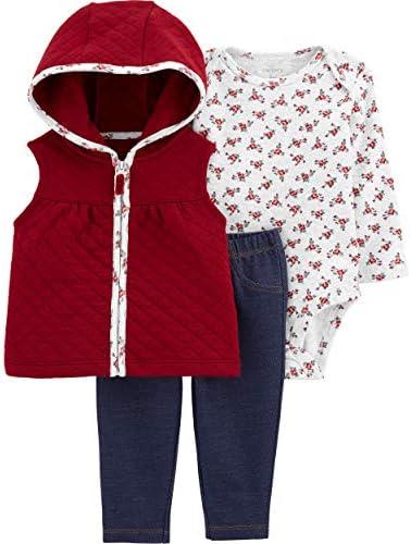 Carter s Baby Girls Vest Sets 24 Months Burgundy Blue product image