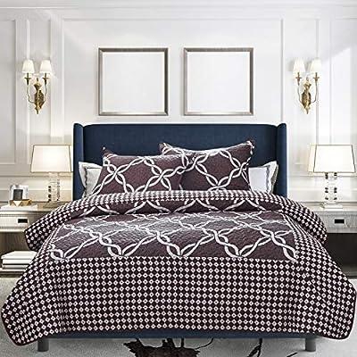 Amazon - Save 30%: ATsense Printed Quilt Set Oversized Queen 90″×96″, Vintage Violet 3-Piece Be…