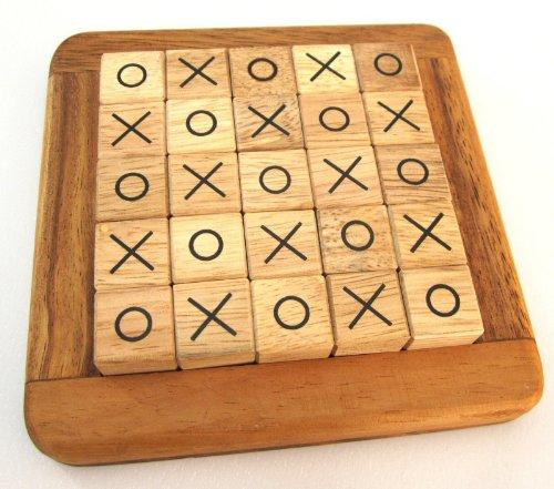 Tic-Tac-Toe - Tic Tac Toe - Legespiel - Strategiespiel im Holzrahmen