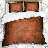 Conjuntos de funda nórdica Pintura martillada Abstracto Naranja Marrón Vendimia Envejecido Cobre Quemado Sucio Color oscuro Antiguo Desordenada Ropa de cama de microfibra con 2 fundas de almohada