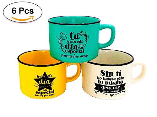 Lote de 6 Tazas con Frases'GRACIAS POR VENIR' (Precio Unitario) - Tazas Originales y Baratas para Detalles de Bodas, Bautizos y Comuniones. Tazas para regalar en Bodas Comprar Online en Amazon