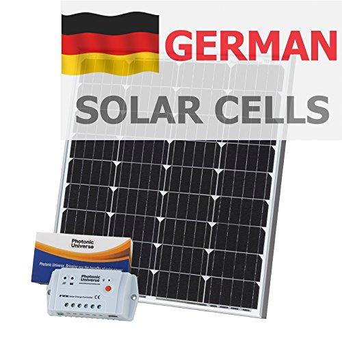 80 Photonic Universe Kit de chargement solaire avec contrôleur 10 A et câble de 5 m pour un camping-car, caravane, bateau ou tout autre système 12 V