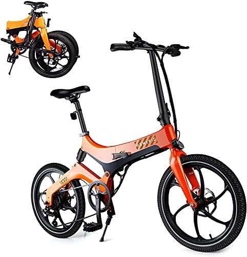 Bicicleta eléctrica plegable para adultos, bicicleta eléctrica de 20 '' con batería de iones de litio extraíble de 7.5 AH, motor de 36 V 250 W y velocidad ajustable inteligente