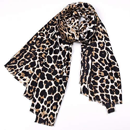 No-Branded L.W.SURL Gradiente Largo de la Bufanda del Estampado Leopardo de la Gasa Larga - Bufanda Ligera sombreada de los Colores for Las Mujeres (Color : Leopard Print, Size : OneSize)