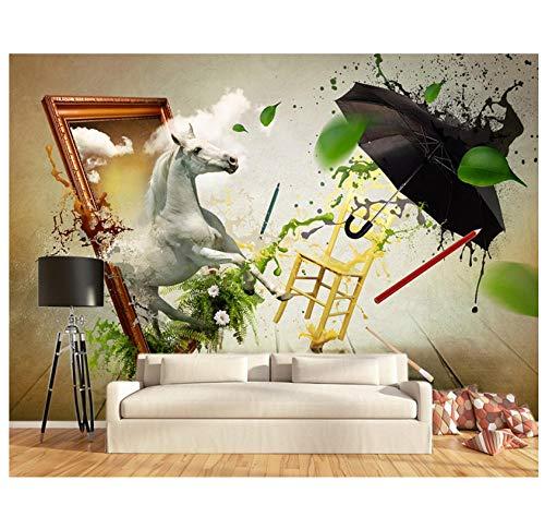 muurschilderingen op maat HD 3D muurschildering abstract kunst aquarel dier paard plant bloem behang PVC verwijderbare slaapkamer woonkamer kantoor achtergrond muur decoratie 350(w)x256(H)cm