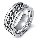 Amesii, anello punk a fascia con catena incastonata in acciaio inox unisex e Lega, 22, colore: White, cod. AME