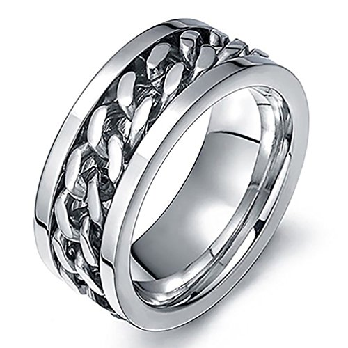 Amesii, anello punk a fascia con catena incastonata in acciaio inox unisex e Lega, 25, colore: White, cod. AME