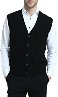 Kallspin Men's Cashmere Wool Blend Gilets Sweater Relax Fit V Neck Vest Sleeveless Knit Button Cardigan