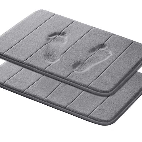 Memory Foam Coral Velvet Non Slip Bathroom Mat/Bath Rug, 17W X 24L Inches Two Pieces (Gray Striped...