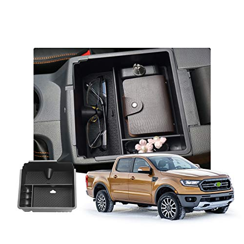 Customized for 2019 2020 2021 Ranger Car Center Console Armrest Box Glove Secondary Storage Console Organizer Insert Tray with Coin and Glass Holder
