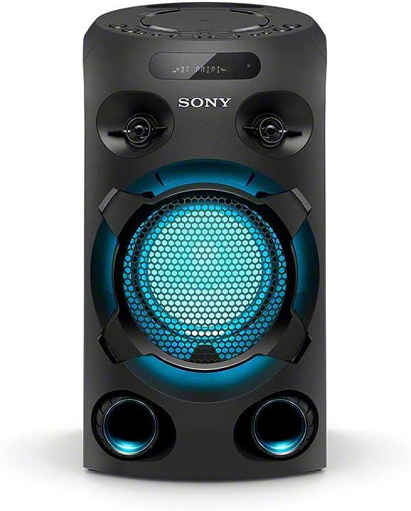 Sony mhc-v02 sistema audio all in one con jet bass booster, effetti luminosi, lettore cd, bluetooth, usb, nero MHCV02.CEL