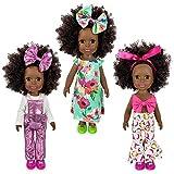 3 Juegos de Ropa de muñeca Negra para muñecas recién Nacidas de 14 Pulgadas (Las muñecas no están Incluidas)