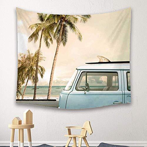 Tapicería de la pared, colgante del paisaje tapicería de la pared del árbol de plátano Beach coches, Fondo grande de arte de la decoración de poliéster Tela nórdica de tela for la sala de estar Dormit