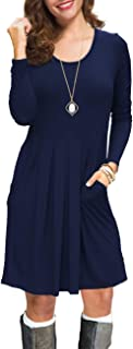 Women's Long Sleeve Pleated Loose Swing Casual Dress with Pockets
