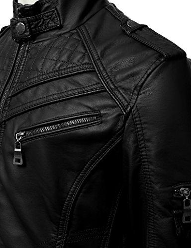 IDARBI Mens Long Sleeve Premium Stand Collar Zip Up Faux Leather Jacket Black L