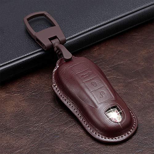 SENDIAYR Llavero de Cuero de la Cubierta del Bolso de la Caja de la Llave del Coche, para Porsche Boxster Cayman Panamera Macan Cayenne 911718981