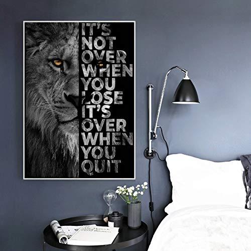 Schwarzer Löwe mit inspirierenden Wörtern Wand Leinwand Kunst Malerei Plakate und Drucke auf Leinwand Kunst Bild Home Decor 60x80cm