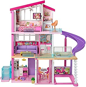 Measuring an impressive 3 feet tall and 4 feet wide and featuring 3 stories, 8 rooms, all-angle play, a working elevator and pool with slide, the Barbie Dreamhouse encourages young imaginations to move into this dollhouse and set up a dream home! Dre...