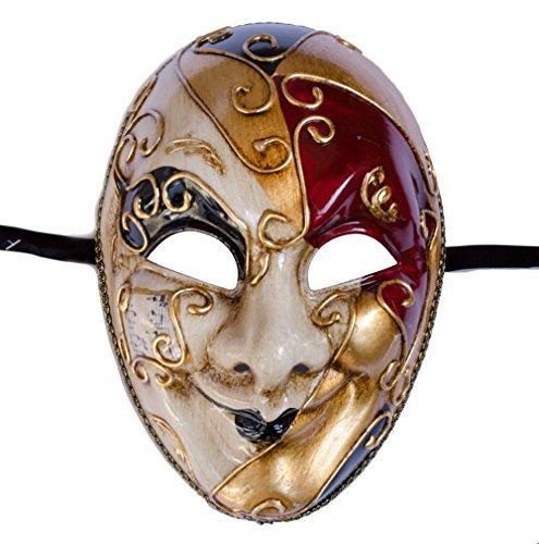 LannaKind Venezianische Maske Gesichtsmaske Ballmaske Joker Herren Karneval Fasching (J06 rot-schwarz)