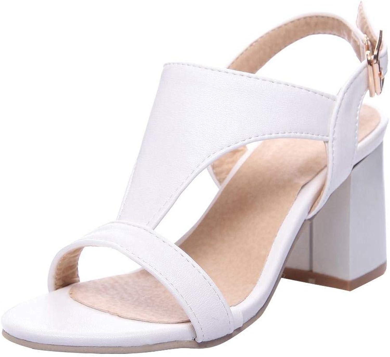 Gedigits Women's Elegant Open Toe Chunky High Heels Sandals Black 4.5 M US