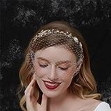 Anglacesmade Diadema barroca de perlas de cristal con velo de jaula de pájaros, para boda, estilo vintage de los años 20, velo de malla floral con diamantes de imitación para mujeres y niñas