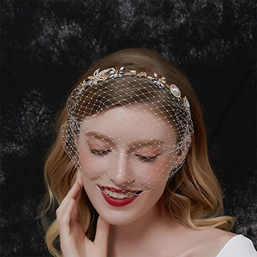 Anglacesmade Bridal Baroque Crystal Pearl Headband with Birdcage Veil Wedding Vintage 1920s Mesh Veil Floral Rhinestone Hair Hoop for Women and Girls