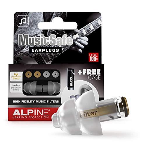 Alpine MusicSafe Tapones para los oídos para músicos - Mejora tu experiencia musical con dos filtros intercambiables - Protección auditiva Hipoalergénico - Tapones reutilizables - Transparente