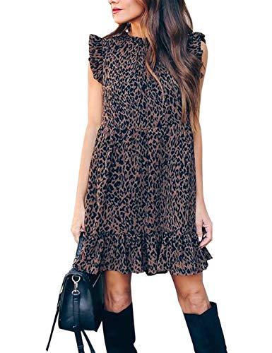 Blooming Jelly Women s Cheetah Shift Mini Dress Sleeveless Crewneck Ruffle Babydoll Casual Tunic Dress(XL, Leopard)